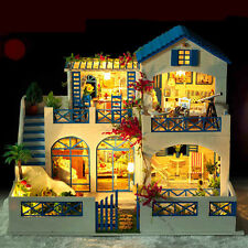 Kit Wood Dollhouse Miniature DIY House large villa w/Music+Lights Meteor Garden