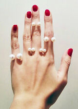 Large Double White Faux Pearl Gold Alloy Metal Statement Band Ring - SHIPS FAST!