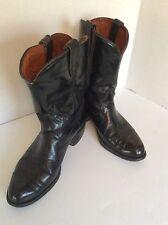 Preowned Vintage Acme Short Top Black Cowboy Boots 8 1/2 D