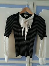Lovely Karen Millen Fitted Jumper with silk sleeves, size 1 or UK6-8 - VGC