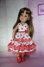 PIXIES HAND MADE: VALENTINE DRESS: FITS 18 INS DOLL LIKE GOTZ HANNAH