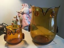 Pier one whimsical owl hurricane candle holders, amber glass, Lg and Sm