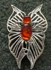 sterling silver BALTIC  COGNAC  AMBER  BROOCH PIN  BUTTERFLY  WOMEN  #2