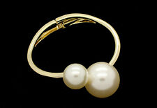 FAUX PEARL CELEBRITY STYLE BLING BEADED BANGLE WRAP BRACELET CUFF BANGLE