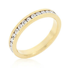 18K GOLD EP DIAMOND SIMULATED  ETERNITY RING sz 10 or T 1/2