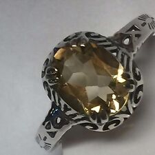 Natural 2ct Golden Citrine 925 Solid Sterling Silver Victorian Filigree Ring 8