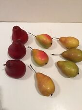 Multi-Color Decorative Realistic Plastic Fruit Pears Red Yellow Green Set of 9