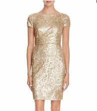 Adrianna Papell 10 LACE SEQUIN SPRING Gold Cocktail MOTHER BRIDE NWT Evening