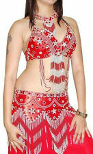 RED SILVER HEAVY Belly Dance 3pc Costume Costumes Hip Belt Bra Top UK 10-14 M L