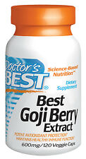 Best Goji Berry Extract 600mg by Doctor's Best- Vitamins & Minerals- 120 VC