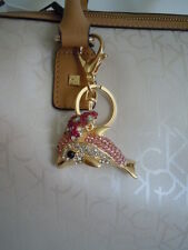 FABULOUS BLING Rhinestone & Medal Alloy Dolphin Purse Charm Accessory / KEYCHAIN