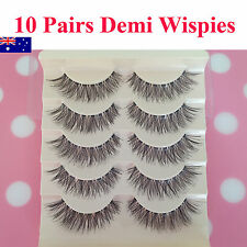 10 Pair Demi Wispies Natural Long Thick Soft Fake False Eyelashes Handmade