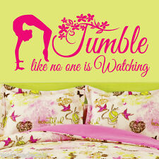 TUMBLE Gymnastics GIRLS Back Flip Vinyl Wall Decor Mural Quote Decal Saying