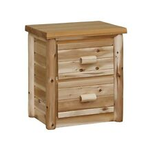 Amish made white cedar rustic log furniture nightstand with 2 drawers