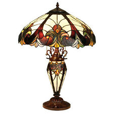 ELEGANT TIFFANY STYLE DOUBLE BASE BROWN TABLE LAMP LIGHT LIGHTS NEW