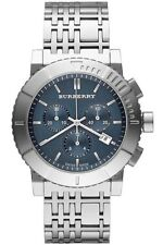 BURBERRY BU2308 TRENCH SILVER STAINLESS STEEL CHRONO BLUE DIAL WATCH