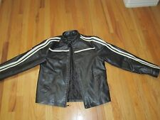 BKE MEN'S BLACK FAUX LEATHER AND RACING STRIPES BIKER JACKET - SIZE SMALL