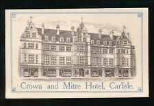 Cumbria CARLISLE Crown and Mitre Hotel advert artist drawn PPC Used 1914 creased