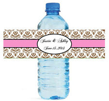 100 Brown Damask with Pink Wedding Anniversary Baby Shower Water Bottle Labels