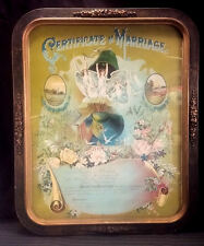Vintage 1927 Art Nouveau Certificate of Marriage in Ormalou Frame Under Glass
