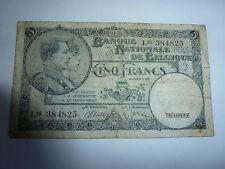 billet de 5 francs de belgique état occasion voir photo