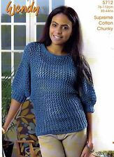 "Ladies Supreme Cotton Chunky Knitting Pattern - Batwing Sweater (30""-44"") W 5712"