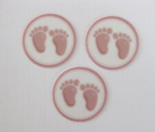 12 PRE CUT EDIBLE RICE PAPER WAFER CARD BABY FEET BABY SHOWER CUPCAKE TOPPERS