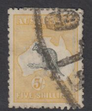 AUSTRALIA KANGAROO SERIES :1918 5/- grey and yellow  die II SG42 used