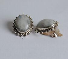 925 Silber Ohrclips mit weißen Labradorit Edelsteinen, ohne Ohrloch tragbar,oval