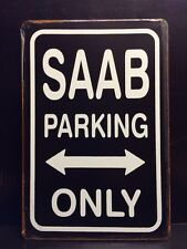 SAAB Parking Only Metal Sign / Vintage Garage Wall Decor (30 x 20cm)