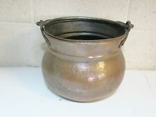 ANTIQUE VINTAGE HAMMERED COPPER CAULDRON BUCKET WITH HAND WROUGHT IRON HANDLE