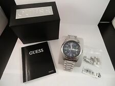 Authentic GUESS Blue/Silver Stainless Steel Chronograph Watch for Men – 42mm