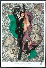 "CATWOMAN OTHER PEOPLES STUFF ART PRINT - SIGNED ADAM HUGHES 13""x19"""