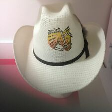 WESTERN EXPRESS INC Beige Cowboy Painted Stiff Straw Hat 6 3/4 Made in Mexico