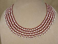 """Vintage Tribal Woven Red & White Glass Seed Bead Fringe Bib Collar Necklace 20"""""""