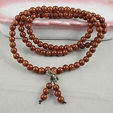 7mm Tibet Buddhism 108 Gold-line Bodhi Prayer Beads Mala