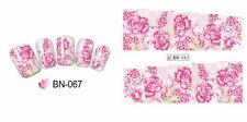Nail Art Water Decals Stickers Transfers Wraps Pink Roses Flowers Floral BN67