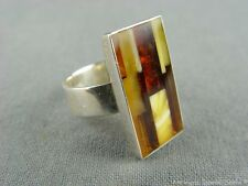 schöner alter Ring Bernstein Baltic Amber in 925er Sterling Silber 04