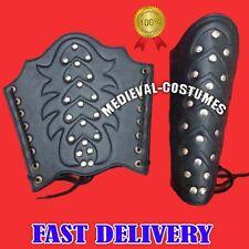 Bracers Ancient Armour Medieval Leather Arm Guard Roman Vambraces 1 Pair Black R
