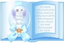 Angel Baby Son our An Angel Book Bereavement Grave Card Memorial Keepsake no1