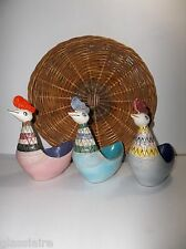 Vintage Italian Aldo Londi BITOSSI ROOSTER Hen CHICKEN SET OF 3 WICKER TRAY