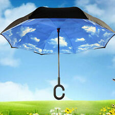 Blue Sky Upside Down Umbrella Reverse Designer Opposite Folding Umbrella