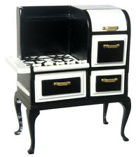 Dollhouse Miniature Vintage Black Roper Cooking Stove Doll House Furniture