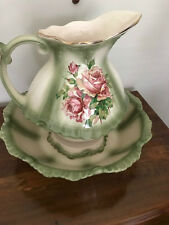 jug and basin stand green roses excellent condition x3 piece