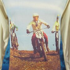NOS vtg 70s MOTOCROSS PHOTO PRINT L/S T-Shirt XS motorcycle mx biker jersey 80s