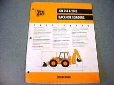 JCB 214 & 214S Tractor Loader Backhoe 8 Pages Brochure