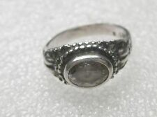 Vintage Sterling Silver Side Set Pink Oval Ring, Victorian Setting, sz. 5 3.69g