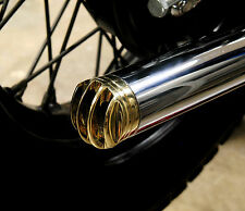 "BRASS GRILLED EXHAUST TIP 1-3/4"" PIPES HARLEY TRIUMPH XS650 BOBBER CHOPPER 1EACH"