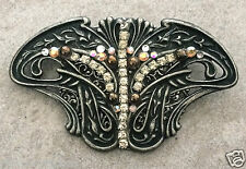 "Ornate Pin Deco Inspire Pewter fan shape neutral crystals handmade NEW 3.5"" x 2"""