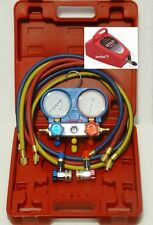 R134 AC A/C Manifold Gauge Set with HOSES & VACUUM PUMP
